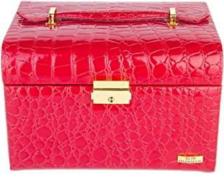 KTYXDE Leather Rounded Arched Jewelry Box Princess European Jewelry Box Jewelry Storage Box Jewelry Box Cosmetic case (Color : Red)