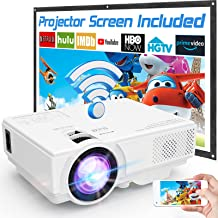 M8-TPA WiFi Projector with 100″ Projector Screen, Full HD 1080P Enhanced Wireless Projector 7000 Lux, Video Projector Comp...