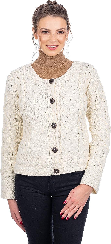 SAOL Ladies 100% Merino Wool Irish Cable Cardigan