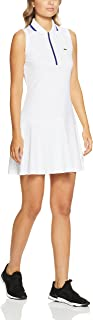 Lacoste Women Sleeveless Tennis Dress, White/Ocean