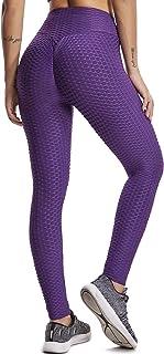 FITTOO Legging Jacquard Donna Sport Legging Rete da Pesca Fitness Vita Alta V per Yoga Palestra Fitness Pantaloni Push up