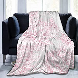 """Fleece Blanket 50"""" x 60""""-Hand Drawn Peony Flower Nature Vintage Home Flannel Fleece Soft Warm Plush Throw Blanket for Bed/Couch/Sofa/Office/Camping"""