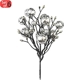 KI Store Christmas Berry Picks Decorations Artificial Glittered Berries Stems Crafts Tree Decoration Ornaments for Xmas Tree Wedding Centerpiece Pack of 6 (Silver)