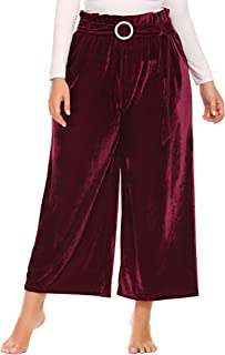 Womens Plus Size Warm Velvet Elastic Flared Wide Leg High Waist Long Capri Palazzo Pants with Belt