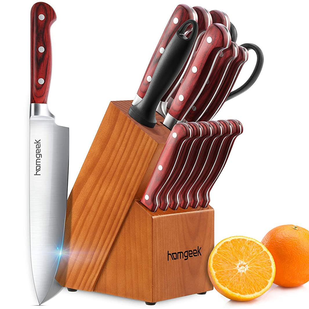 Chef Knife Set,15 Piece Wood Handle Knives with Wooden Block,German X50Cr15 Stainless Steel