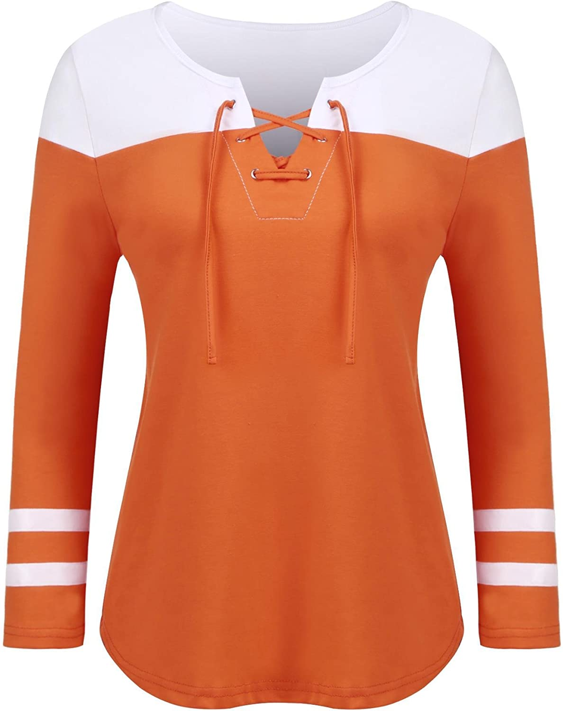 Dealwell Women's Lace Up Long Sleeve Top Raglan Baseball Tee colorblock Striped Shirt