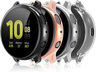 Compatible with Galaxy Watch Active 2 Case 44mm, 4 Pack Full Coverage TPU Bumper Screen Protector Case Soft Protective Cov...