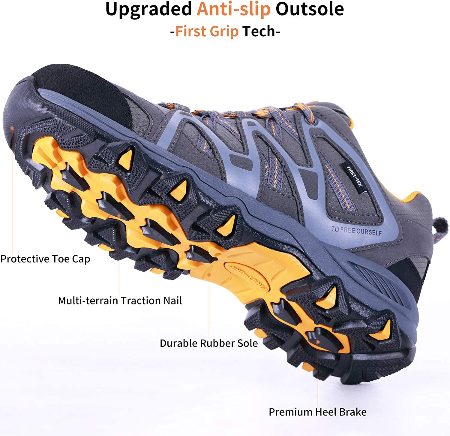 TFO Hiking Shoes Men Waterproof Air Circulation Insole Ankle Support Non-Slip Lightweight for Outdoor Trekking Walking