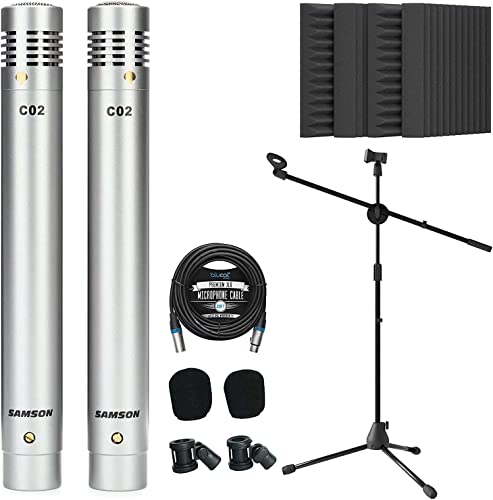 """wholesale Samson C02 Pencil Condenser Microphones Pair for high quality Vocals, Acoustic Guitars, Pianos, Overhead Drums Bundle with Blucoil 20-FT Balanced XLR Cable, Adjustable Mic outlet sale Stand, and 4x 12"""" Acoustic Wedges outlet online sale"""