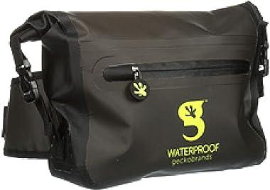 geckobrands Waterproof Tarpaulin Dry Bag Waist Pouch, Dark Grey/Neon Green