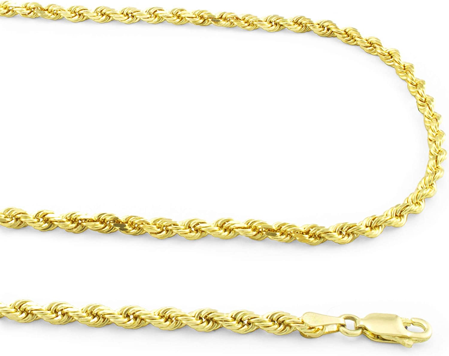 Nuragold 14k Yellow Gold 3mm Rope Chain Diamond Cut Pendant Necklace, Mens Womens Lobster Lock 18