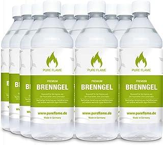 12 x 1L Brenngel für Gel Kamine & Gel Feuerstellen - Hergestellt aus Premium Bio-Ethanol 96,6% Vol. - 12 Liter in 1L Flaschen zum handlichen & sicheren Gebrauch - Made in Germany!!!