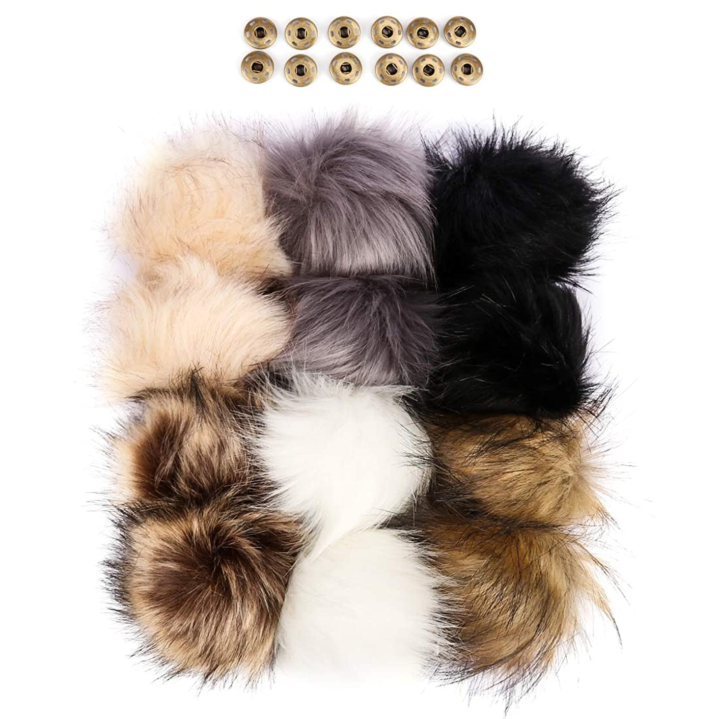 ANBALA 12 Pack Faux Fox Fur Pom Ball for Knitting Hat Garment Scarves DIY Accessories with Press Button Removable