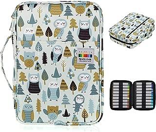 BTSKY Colored Pencil Case 220 Slots Pen Pencil Bag Organizer with Handy Wrap Portable- Multilayer Holder for Prismacolor Crayola Colored Pencils & Gel Pen Owl&Leaf