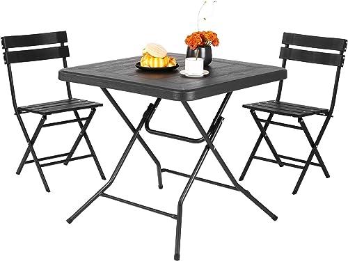 Femor Salon de Jardin Exterieur 2 Personnes, 2 Chaises & 1 Table Basse Pliante, Set de Balcon, Ensemble de Meuble de ...