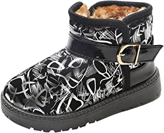 Amiley Kids Comfortable Casual Multicolour Graffiti Shoes Winter Girls Boys Lovely Hiking Snow Boots (Toddler/Little Kid)
