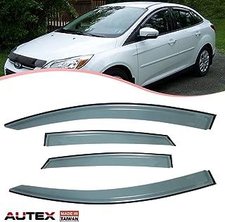 AUTEX Tape On Window Deflector Compatible with Ford Fusion 2013 2014 2015 2016 2017 2018 Window Visor Rain Guard 4Pcs/Set