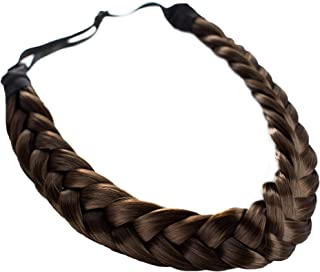 Madison Braids Women's Two Strand Headband Hair Braid Natural Looking Synthetic Hair Piece Extension - Lulu - Brunette