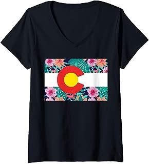 Womens Colorado State Flag Floral Print Colorful Colorado by MCMA V-Neck T-Shirt