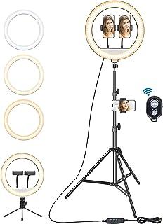 ulocool LED-ringlampa 13 tum med stativställ, 3 färglägen och 10 dimbara ljusstyrka, telefonhållare för livestream/makeup/...