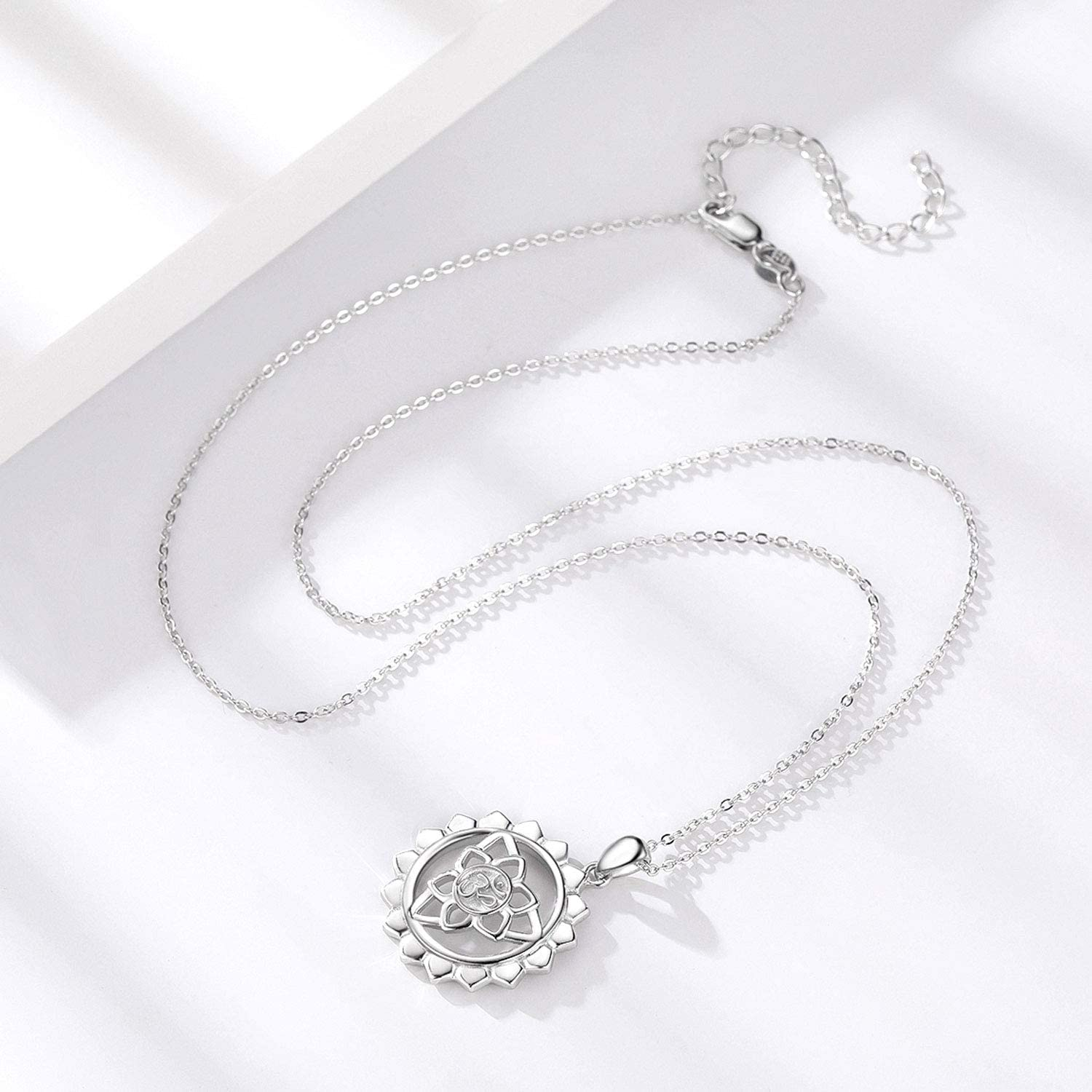 Lotus Flower Necklace 925 Sterling Silver Om Aum Yoga Pendant Jewelry Gifts for Women Girlfriend Birthday Mother/'s Day