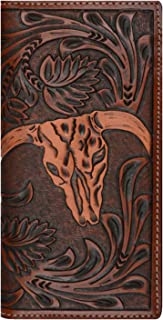Custom 3D Belt Company Origional Long Rodeo Checkbook Brown amd Tan Cow Skull Wallet