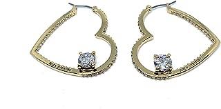 Goldplated Heart Hoops with Rhinestones - Earrings