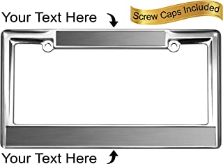 Custom Personalized Heavy Duty Chrome Metal Car License Plate Frame with Free caps - Steel/Black