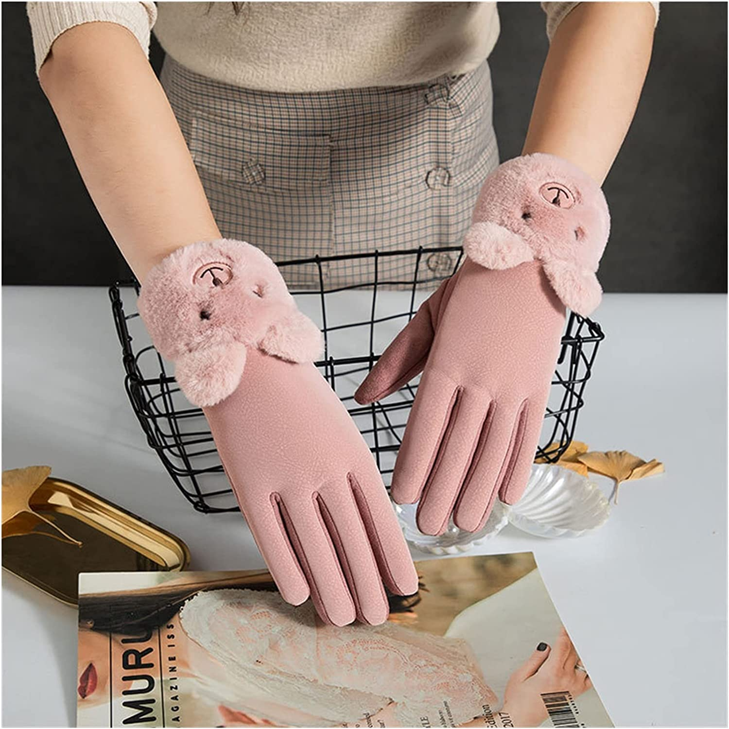 Lace Gloves New Winter Female Lace Warm Cashmere Three Ribs Cute Bear Mittens Double Thick Plush Wrist Women Touch Screen Driving (Color : Bear Bean Pink, Gloves Size : One Size)