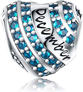 XOYOYZU Birthstone Charm for Charms Bracelet 925 Sterling Silver Bead Openwork Birthday Charms for Bracelet and Necklace