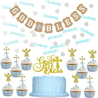 Baptism Decorations for Boy Blue Gold Bless Banner Cake Topper, Christening Confetti Baptism First Communion God Bless The Child Party Supplies
