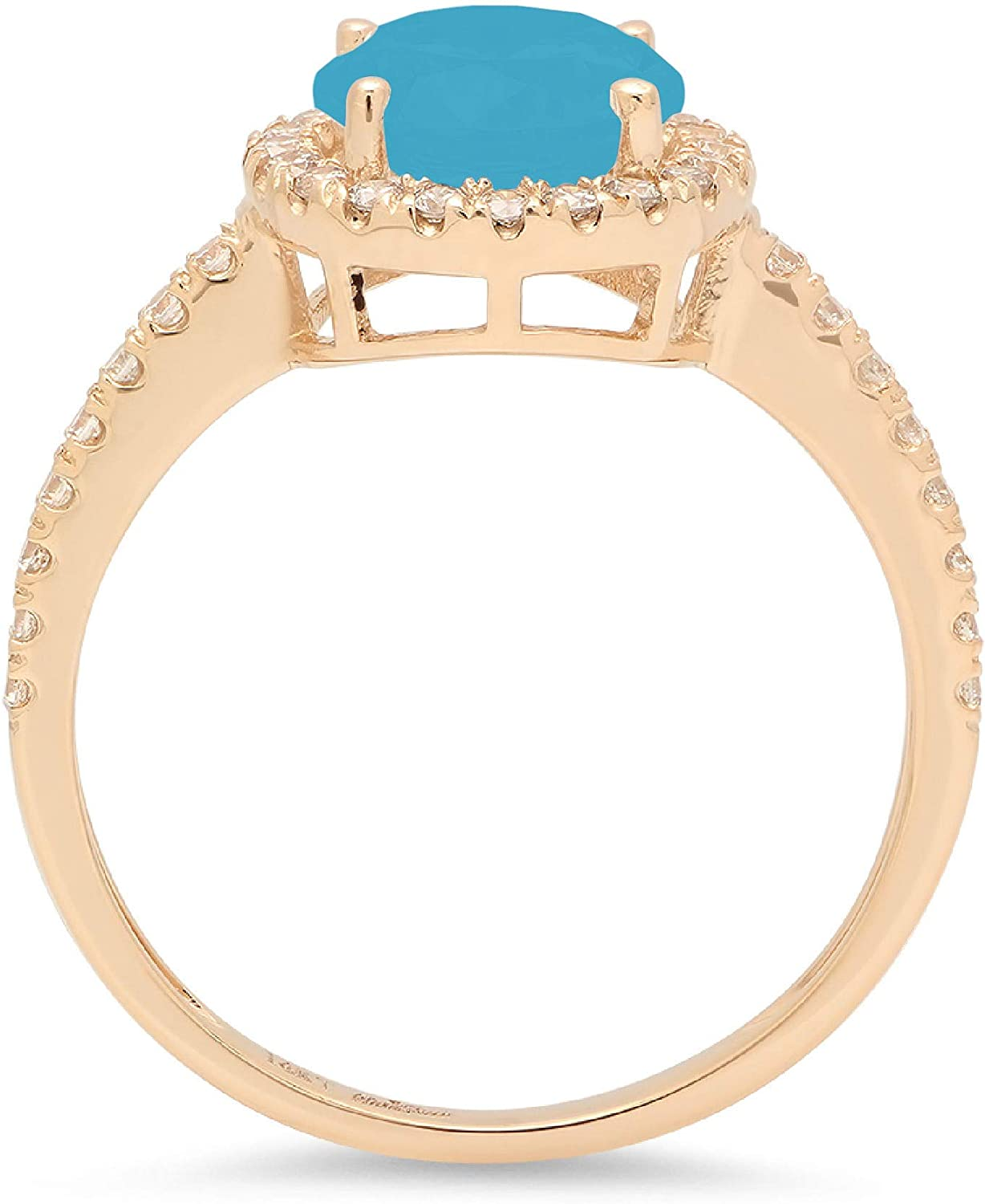 Clara Pucci 1.95 Brilliant Round Cut Solitaire halo Stunning Genuine Flawless Simulated Turquoise Gem Designer Modern Accent Ring Solid 18K Yellow Gold