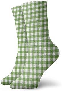 Pengyong, Pengyong Calcetines patrón de Cuadros Verdes y Blancos para Hombre, Transpirables, Transpirables, para Correr, Entrenar, Trabajar, Caminar, para Hombres y Mujeres