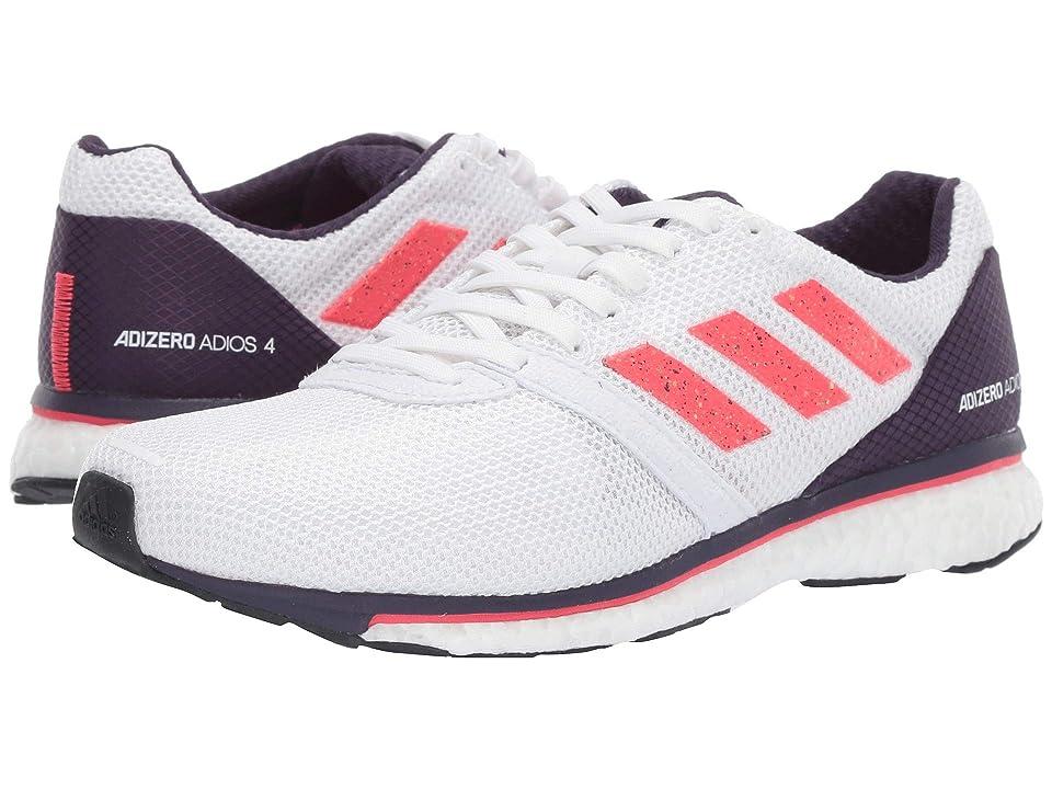 Image of adidas Running Adizero Adios 4 (White/Shock Red/Legend Purple) Women's Shoes