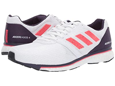 adidas Running Adizero Adios 4 (White/Shock Red/Legend Purple) Women