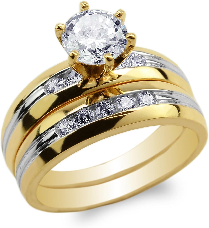 JamesJenny Sale item Womens Set 10K Yellow Gold So Two CZ Price reduction Tone Lines Round