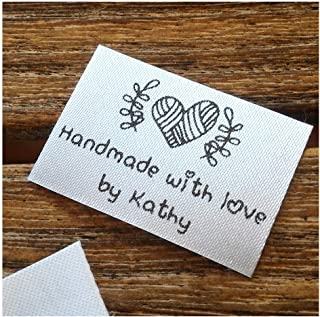 Qty 100 Iron on Clothing Label Sewing Custom Name tag Heart Ball of Yarn Design Handmade with Love by Business Name Text Logo Personalized Soft Satin Ribbon Waterproof Washable Label Size 1.2