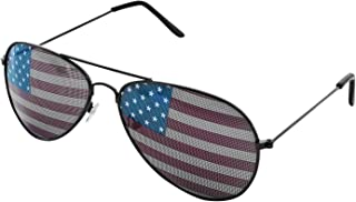 American USA Flag Design Metal Frame Aviator Unisex Sunglasses with Print Patterned Lens for Sun Protection, Driving, Eye Wear