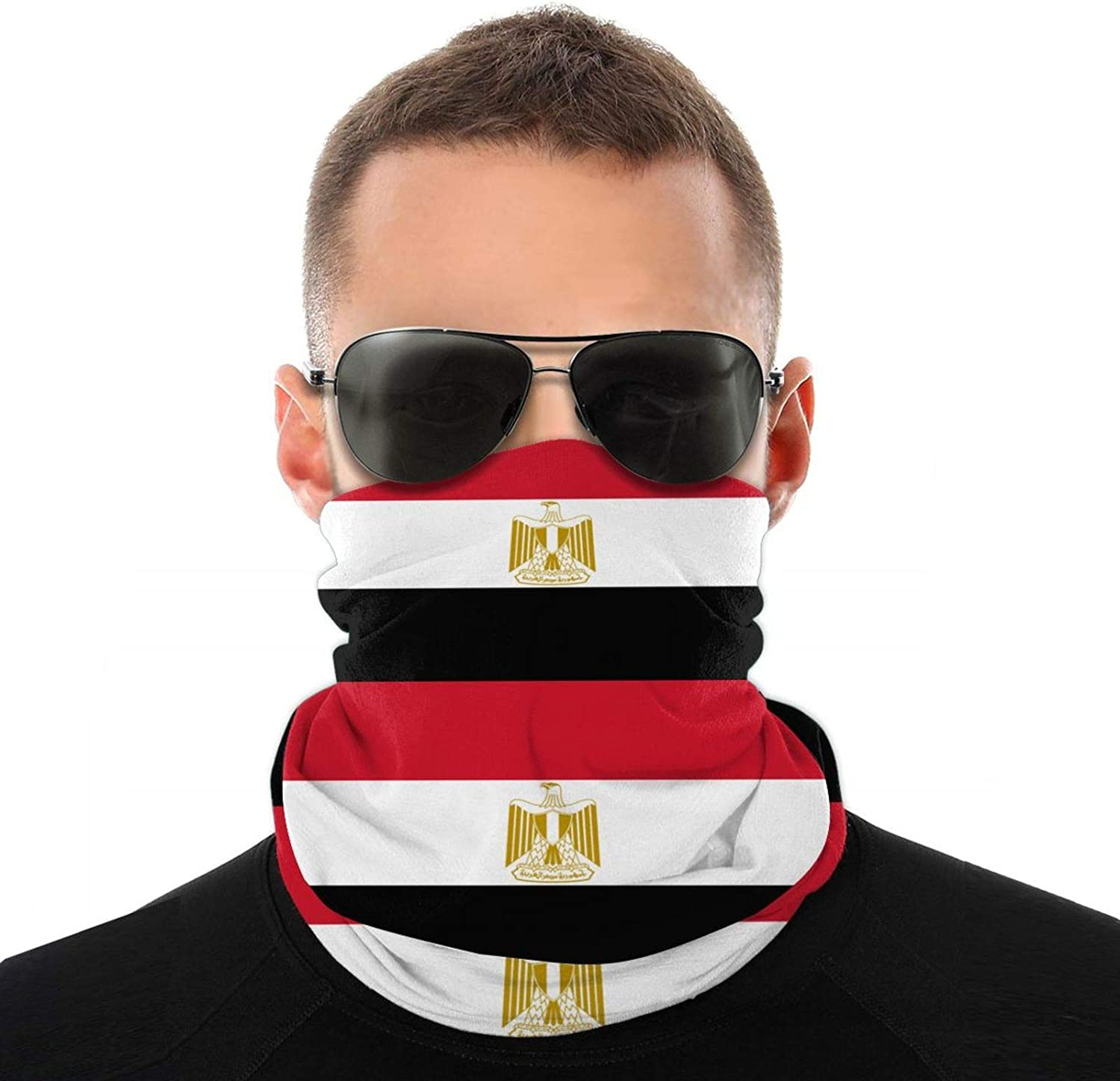 Double-Sided Cool Neck Gaiter Mask for Adult Flag of Egypt Full Face Covering Balaclava White