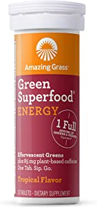 Amazing Grass Effervescent Tablets, Green Superfood Energy Water Flavoring Tablet, Antioxidant Supplement with Green Tea Caffeine and Alkalizing Greens, Tropical Flavor, 10 Count