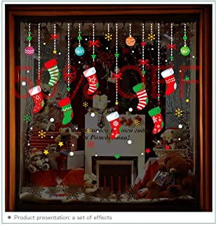 ONDY Christmas Garter Window Glass Decoration Stickers 2019 New Holiday Merry Christmas Removable Dress Up DIY Wall Stickers Decals for Living Room Bedroom Shop Window