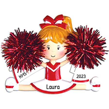 Amazon Com Personalized Cheerleader Christmas Tree Ornament 2020 Girl With Real Pompom Split Competition Cheer Team Dancer High School Loud Proud Holiday Brunette Blonde Gift Year Free Customization Red Home Kitchen
