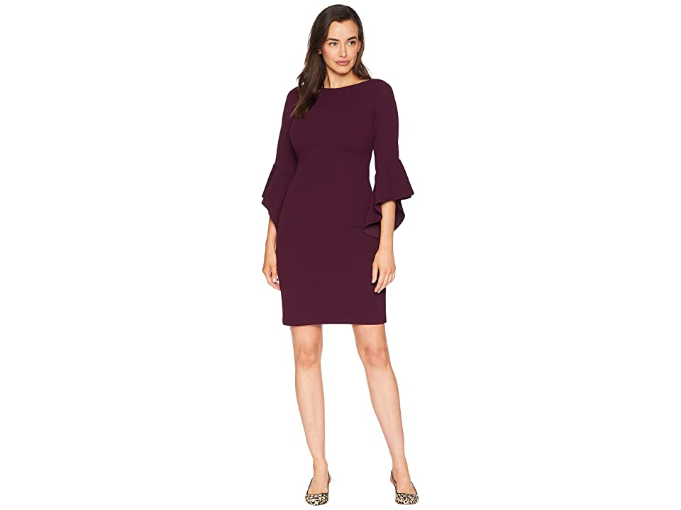 Vince Camuto Circle Sleeve Bodycon Dress (Aubergine) Women