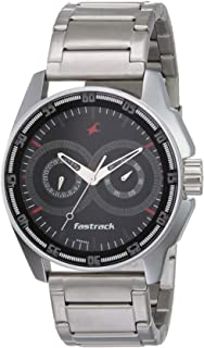 Fastrack Men's Casual Wrist Watch with Analog Function, Quartz Mineral Glass, Water Resistant with Silver Metal Strap/Leat...