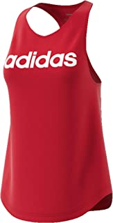 adidas Women's Essentials Linear Loose Tank Tops, Red (Active Maroon/white), Large, 16-18
