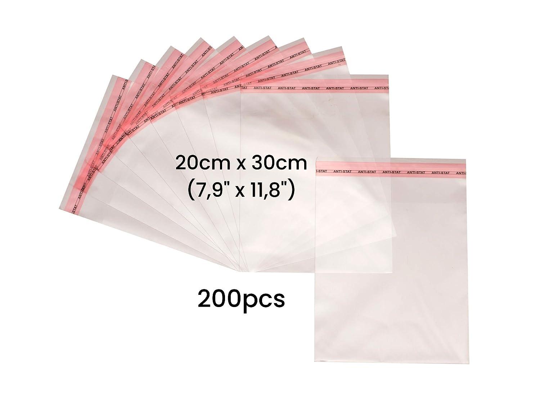 Bolsas de embalaje de pl/ástico transparente autoadhesivas de celof/án con agarre y cierre 100, 16,5 cm x 23 cm