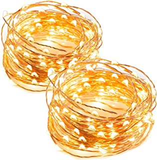 TaoTronics LED String Lights 33 ft with 100 LEDs, Waterproof Decorative Lights for Bedroom, Patio, Parties (Copper Wire Lights, Warm White)-2pack