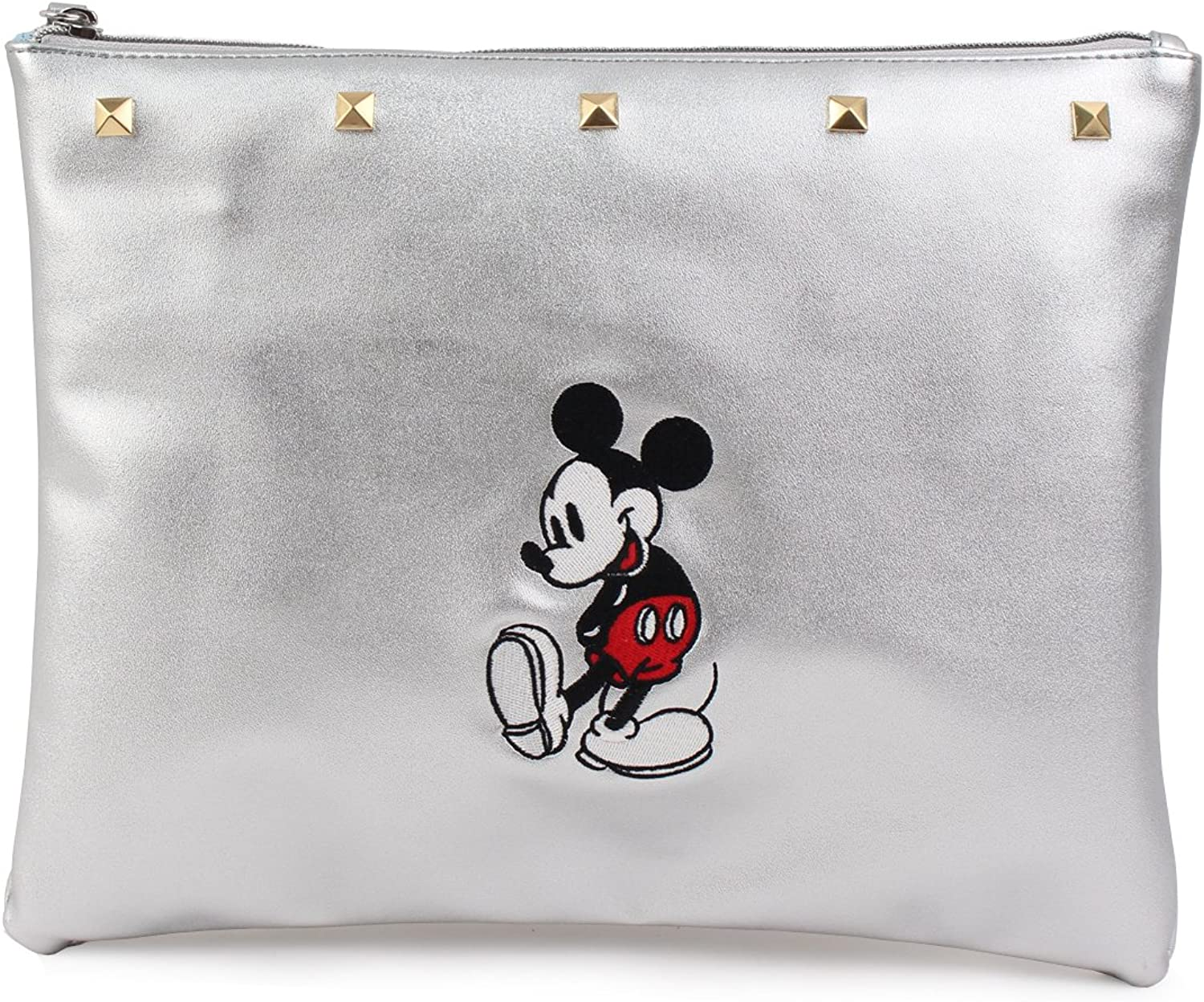 Disney Mickey Mouse Smile Clutch PU Leather Silver