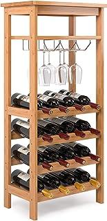 Homfa Bamboo Wine Rack Free Standing Wine Holder Display Shelves with Glass Holder Rack, 16 Bottles Stackable Capacity for...