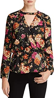 Womens Floral Long Sleeve Choker Top